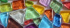 Mosaiksteine Glitter unregelm.