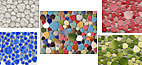 Pebbles Mosaik aus Glas, Metall,