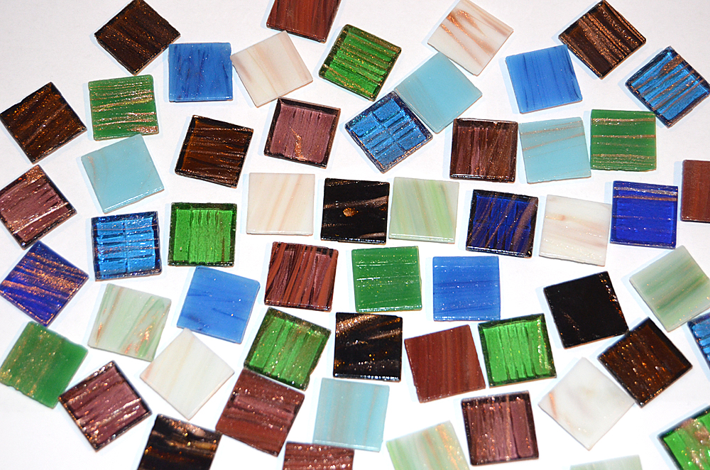Glas Mosaiksteine mit Goldfäden