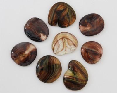 Deko Glas Pebbles gemustert 4-5 cm braun 4 St.- ca. 70g
