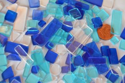 Acrylmosaik Blaumix transparent 40g. ca. 180 St.