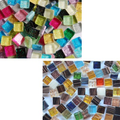 Mini Mosaiksteine 1x1cm Bunt Mix-Glitzer-Flimmer 150 St. ca.110g