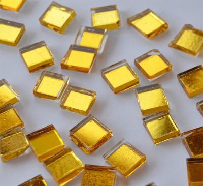 Spiegel Mosaiksteine gelbgold 1x1cm 125g. ca. 170 Stück