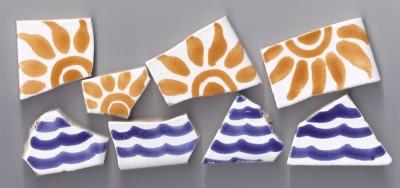 Bruchmosaik handbemalt Sonne-welle Nr.1, 8 Stück