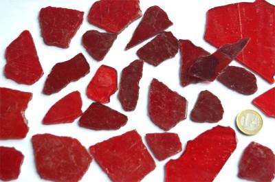 Tiffany Glas Bruchmosaik rot transparent 200g, ca. 20-30St.