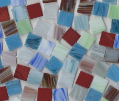 Glas Mosaiksteine marmoriert Buntmix 2x2cm 50 St.- ca. 145g