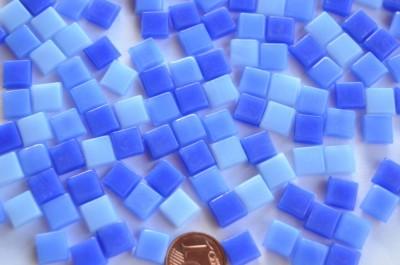 Mini Mosaik Blaumix 8x8mm Glas Mosaiksteine 50g. ca. 90 St.