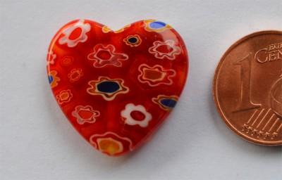 Schmuck Mosaiksteine Herz rot Durchmesser 2 cm, 1 St.- ca. 2g