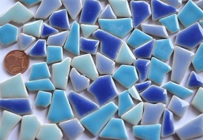 Mini Bruchmosaik 5-20mm aus Keramik blaumix 100g ca.90St.