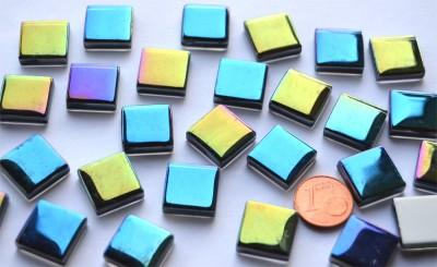 Mosaiksteine schimmernd in Spektralfarben 15x15mm 65g, ca.30 St.