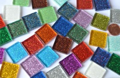 Glas-Mosaiksteine Buntmix mit Glitzer 2x2cm 40 St.- ca. 140g