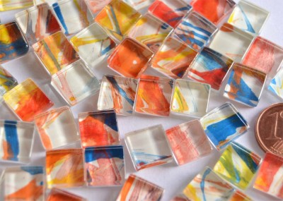 Mosaiksteine (Soft-Glas) mit Muster N780, 1x1cm 110 St.- ca.90g