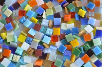 Glas Mosaiksteine Buntmix 1x1cm B-Ware!! 300 St. ca. 205g