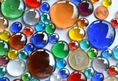 bunte Glasnuggets in 3 versch. Größen 1-3 cm 290g ca.87St.