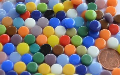 Mini Mosaiksteine glänzend rund 8mm Buntmix 40g, ca. 90-100 St.