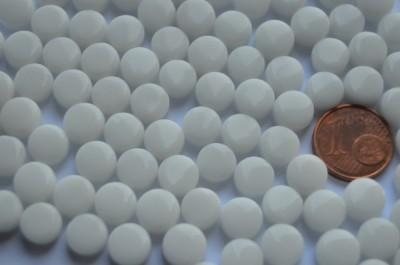 Mini Mosaiksteine glänzend rund 8mm weiß 40g, ca. 90-100 St.
