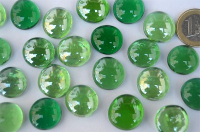 Glasnuggets Grünmix transparent 17-20mm 100g, ca. 20 St.