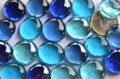 Glasnuggets transparent 17-20mm Blaumix 100g, ca. 20 St.