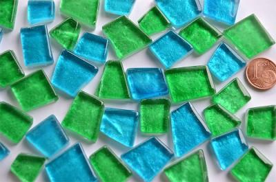 Mosaiksteine unregelm. hoch glänzend Mixkaribik 100g ca. 40St.