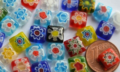 Schmuck Mosaik Millefiori bunt N4 , 8x8mm, 10 St.- ca. 3g