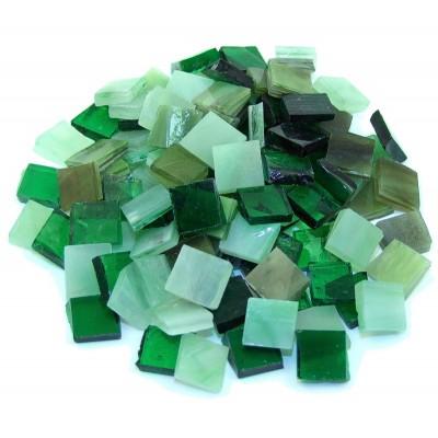 Tiffany Glas Grünmix 1,5x1,5cm 200g. ca. 300 St.
