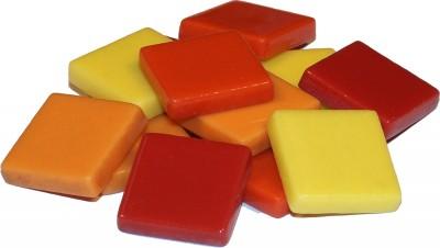 Fantasy Mosaiksteine 2x2cm gelb-rot mix 200g. ca. 45 St.