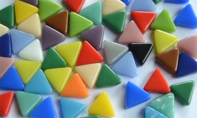 Mini Mosaiksteine dreieckig Seitenlänge 1cm bunt 30g ca.55 Stück