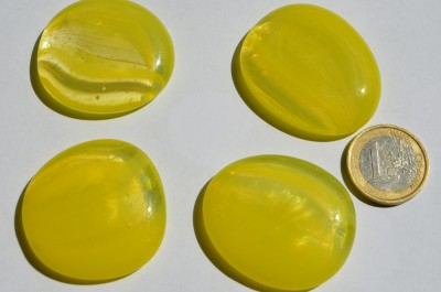 Deko Glas Pebbles gemustert 4-5 cm gelb 4 St.- ca. 70g