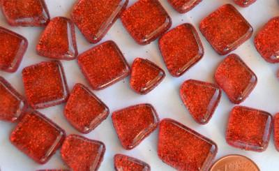 Glitter Mosaiksteine unregelmäßig rot 100g ca. 60 St.