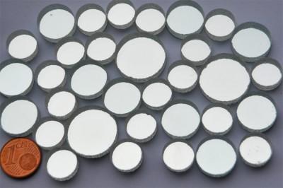 Spiegelmosaik rund silber 3 versch. Größen 12-20mm 33 St. ca.56g