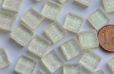 Mini Mosaiksteine Glitzer weiß 1x1cm 100 St.- ca. 85g