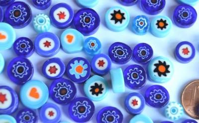Millefiori Glas Mosaiksteine rund Blaumix 7-15mm 30g ca.25-30St.
