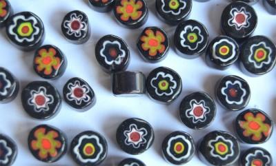 Millefiori Glas Mosaiksteine rund schwarz 7-15mm 30g ca.25-30St.
