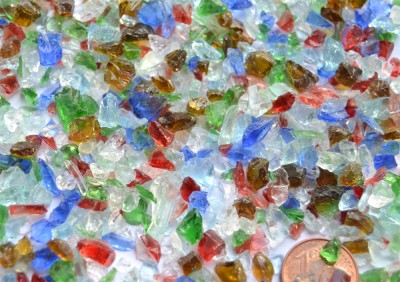 Glasbruch - Deko Crush Glassteine 3-10mm bunt 100g- ca. 500 St.
