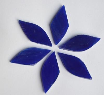 Tiffany Glas Blattform dunkelblau a 4x1,5cm 6 St.- ca. 12g.