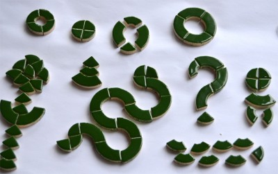 Keramikmosaik grün, 6 Kreise 3 Gr., 24 St.einzelne Teile, ca.32g