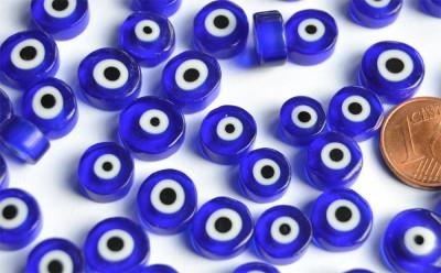Millefiori evil eyes - Böse Augen rund blau 8-12mm 20g ca.22 St.