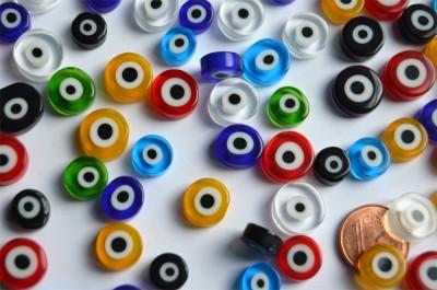 Millefiori evil eyes - Böse Augen rund bunt 8-12mm 20g ca.22 St.