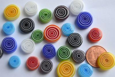 Millefiori Glas Mosaiksteine rund bunt Spirale 7-12mm 20g ca20St