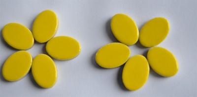 Keramik Mosaiksteine oval 22-23 mm gelb 10 St.- ca. 15g