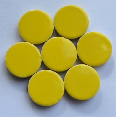 Keramik Mosaiksteine rund glanzend 17-18 mm gelb 10 St.- 20g