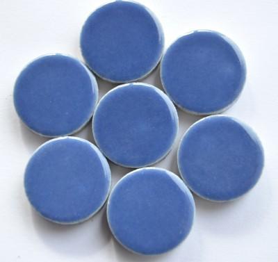 Keramik Mosaiksteine rund glanzend 17-18 mm blau 10 St.- 20g