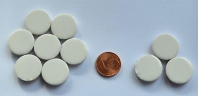 Keramik Mosaiksteine rund glanzend 17-18 mm weiß 10 St.- 20g