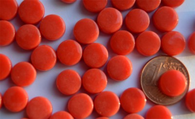 Mini Mosaiksteine glänzend rund 8mm rot 40g, ca. 90-100 St.