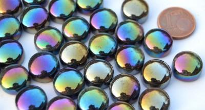 Mosaiksteine irisierend rund 12mm schwarz Stärke 6mm 50g, ca32St