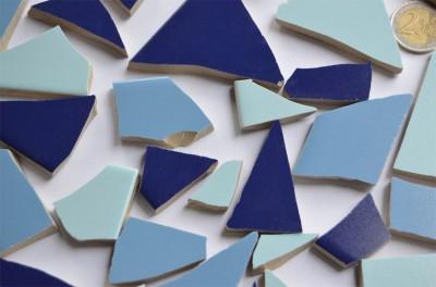 Bruchmosaik Blaumix ca. 1-6cm frostsicher glänzend 500g ca40 St.
