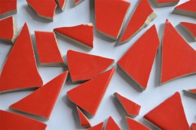 Bruchmosaik rot ca. 1-6cm frostsicher glänzend 500g ca. 40 St.
