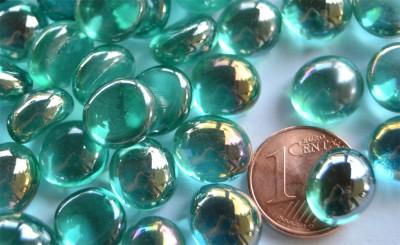 Mini Glasnuggets 10-12mm türkis irisierend 70g, ca. 50 St.
