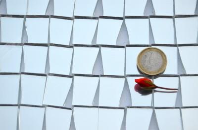 trapezform Spiegel- Mosaiksteine silber 25-15mm 100g ca. 22St