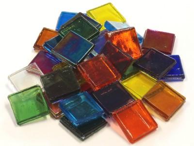 Eis Glas Mosaiksteine 15x15mm transparent bunt 200g, ca. 100 St.